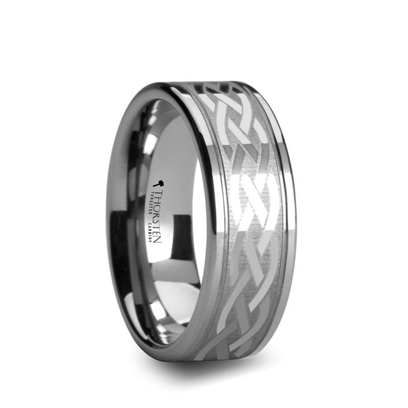 PAETUS Flat Dual Offset Grooved Tungsten Ring with Celtic Design - 8mm or 10mm