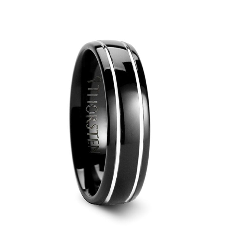 ECLIPSE Domed Black Tungsten Ring with Polished Offset Grooves - 6mm & 8mm
