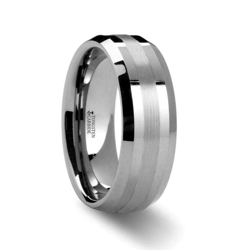 HALSTEN Platinum Inlaid Beveled Tungsten Carbide Wedding Ring - 6mm or 8mm