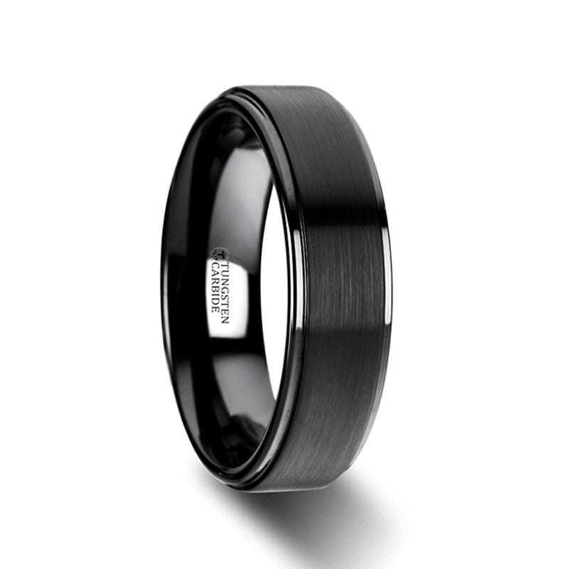 ORION Flat Black Tungsten Ring with Brushed Raised Center & Polished Step Edges - 6mm - 8mm