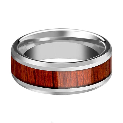Image of Tungsten Wood Ring - Padauk Real Wood - Tungsten Wedding Band - Polished Finish - 6mm - 8mm - 10mm - Tungsten Wedding Ring - AydinsJewelry