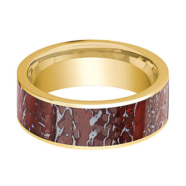 Dinosaur Bone Ring - Red Dinosaur Bone Inlay - Flat Polished 14K Yellow Gold - Polished Finish - 8mm - 14k Gold Wedding Ring - AydinsJewelry