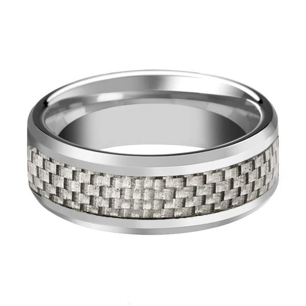 AARON Silver Tungsten Couple Matching Ring with White Carbon Fiber Inlay & Beveled Edges - 4MM - 12MM - Rings - Aydins_Jewelry