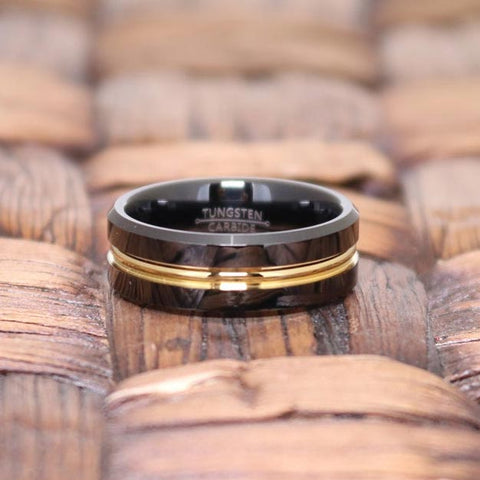 Image of CHIEF Black Polished Tungsten Men's Wedding Band With Gold Groove in Center - 8MM - Rings - Aydins_Jewelry