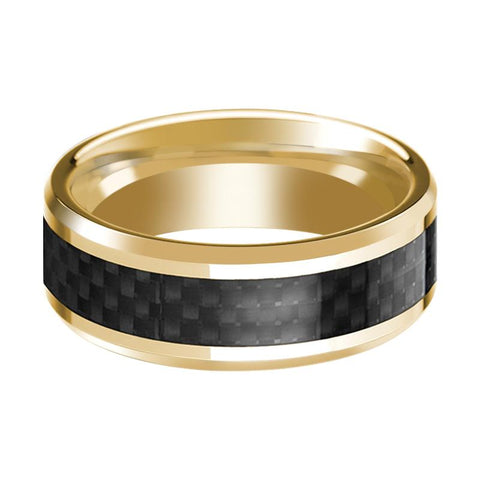 Image of 14K Yellow Gold Ring with Black Carbon Fiber Inlay Beveled Edge Wedding Band Polished Design - Rings - Aydins_Jewelry