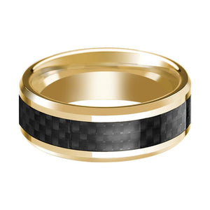 14K Yellow Gold Ring with Black Carbon Fiber Inlay Beveled Edge Wedding Band Polished Design - Rings - Aydins_Jewelry