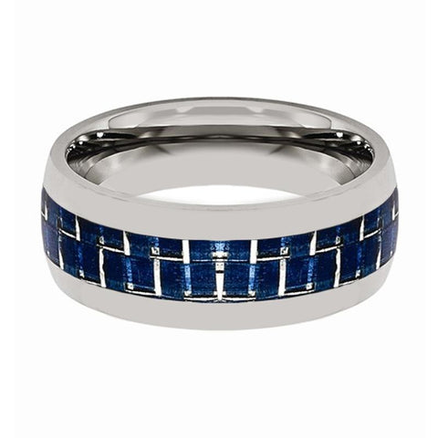 Domed Tungsten Men's Wedding Band With Blue Carbon Fiber Inlay Brushed - Rings - Aydins_Jewelry