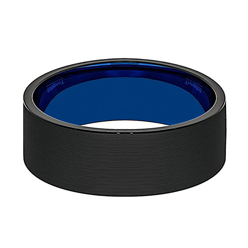 GENESIS Pipe-Cut Flat Black Tungsten Wedding Ring for Men with Blue Inside & Brushed Finish - Rings - Aydins_Jewelry
