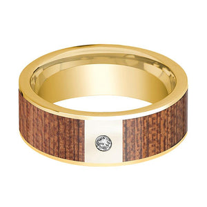 Cherry Wood Inlaid Men's 14k Gold Wedding Band with White Diamond in Center - 8MM - Rings - Aydins_Jewelry