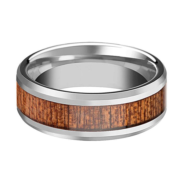 Beveled Tungsten Couple Matching Ring with African Sapele Wood Inlay Polished Finish - Rings - Aydins_Jewelry