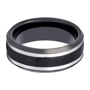 Black & Silver Tungsten Wedding Band for Men with Stepped Beveled Edges - 8MM - Rings - Aydins_Jewelry