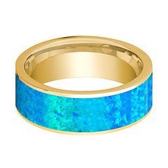 Mens Wedding Band 14K Yellow Gold with Blue Opal Inlay Flat Polished Design - AydinsJewelry