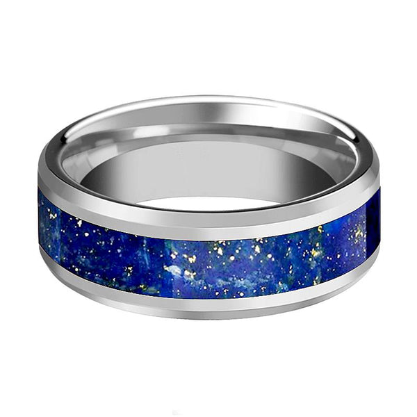 Tungsten Blue Lapis Inlay - Tungsten Wedding Band - Beveled - Polished Finish - 8mm - Tungsten Wedding Ring - AydinsJewelry