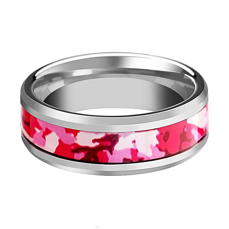 Tungsten Camo Ring - Pink and White Camouflage - Tungsten Wedding Band - Beveled - Polished Finish - 6mm - 8mm - Tungsten Wedding Ring - AydinsJewelry