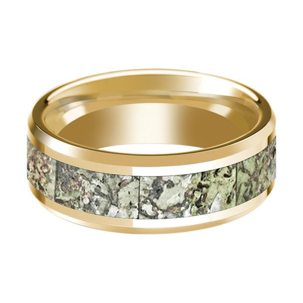 DELTA Polished 14k Yellow Gold Green Dino Bone Inlay Wedding Ring for Men with Bevels - 8MM - Rings - Aydins_Jewelry