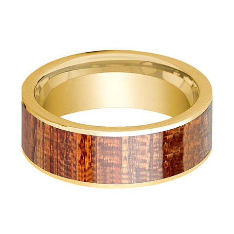 Image of Mens Wedding Ring Polished 14k Yellow Gold Flat Wedding Band with Mahogany Wood Inlay - 8mm - AydinsJewelry
