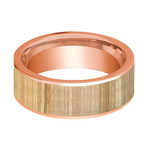 Mens Wedding Band Polished Flat 14k Rose Gold Wedding Ring with Ash Wood Inlay  - 8mm - AydinsJewelry