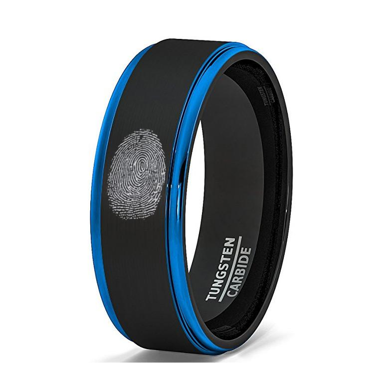 Finger Print Engraved Two-Tone Black Brushed Tungsten Ring With Blue Step Edges - Rings - Aydins_Jewelry