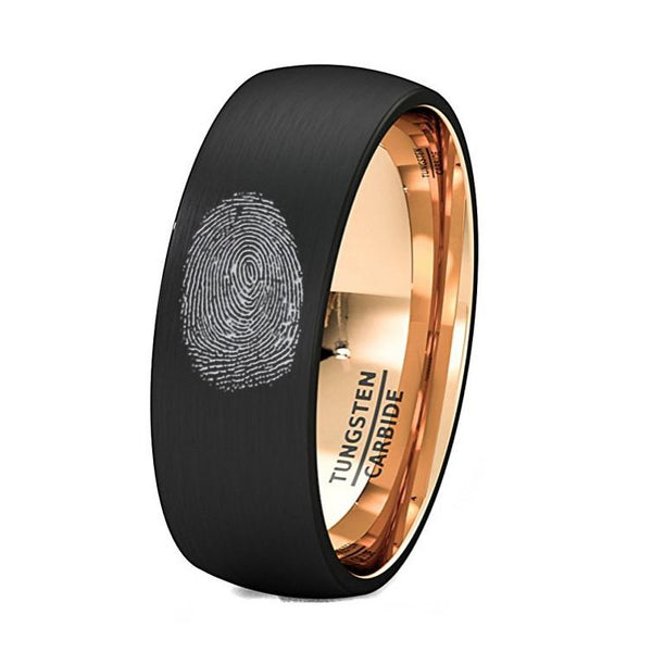 Finger Print Engraved Rose Gold Inlay Tungsten Ring Brushed Dome Comfort Fit - Rings - Aydins_Jewelry