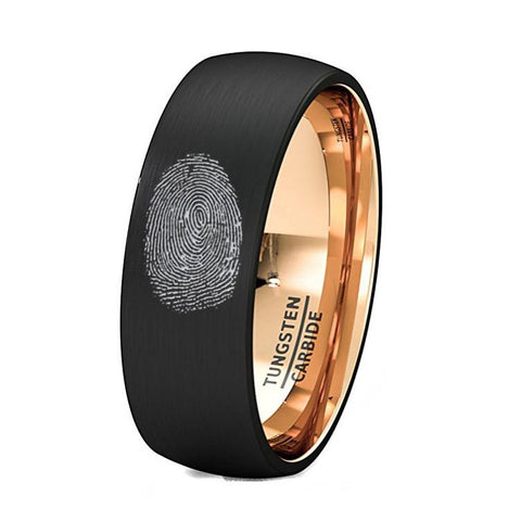 Image of Finger Print Engraved Rose Gold Inlay Tungsten Ring Brushed Dome Comfort Fit - Rings - Aydins_Jewelry