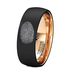 Finger Print Engraved Rose Gold Inlay Tungsten Ring Brushed Dome Comfort Fit - AydinsJewelry