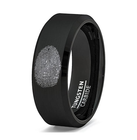 Image of Fingerprint Engraved Black Tungsten Men's Wedding Band with Beveled Edges - Rings - Aydins_Jewelry