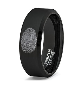 Fingerprint Engraved Black Tungsten Men's Wedding Band with Beveled Edges - Rings - Aydins_Jewelry