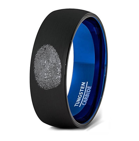 Image of Finger Print Engraved Two Tone Black Brushed Men's Tungsten Wedding Band with Blue Interior Domed- 8MM - Rings - Aydins_Jewelry