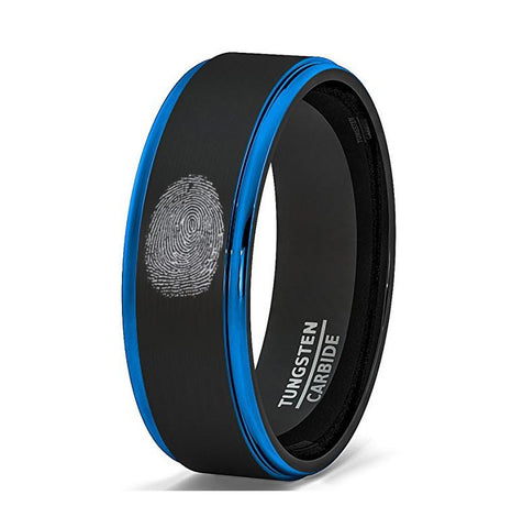 Image of Finger Print Engraved Two-Tone Black Brushed Tungsten Ring With Blue Step Edges - Rings - Aydins_Jewelry