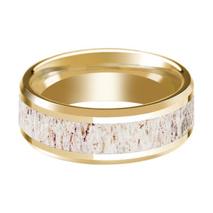 14k Yellow Gold Polished Wedding Band with White Deer Antler Inlay & Beveled Edges - 8MM - Rings - Aydins_Jewelry