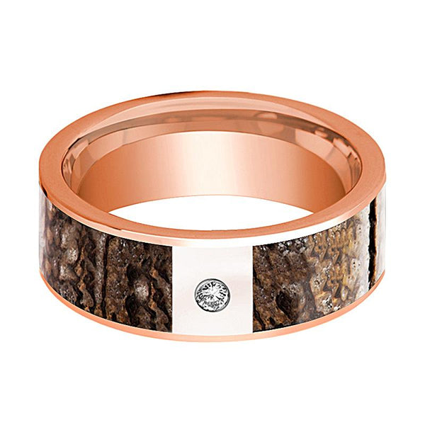 KRON Flat Polished 14K Rose Gold and Diamond Brown Dinosaur Bone - Rings - Aydins_Jewelry