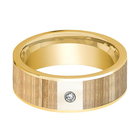 Image of Mens Wedding Ring Polished 14k Yellow Gold Flat Wedding Band with Ash Wood Inlay & Diamond - 8mm - AydinsJewelry