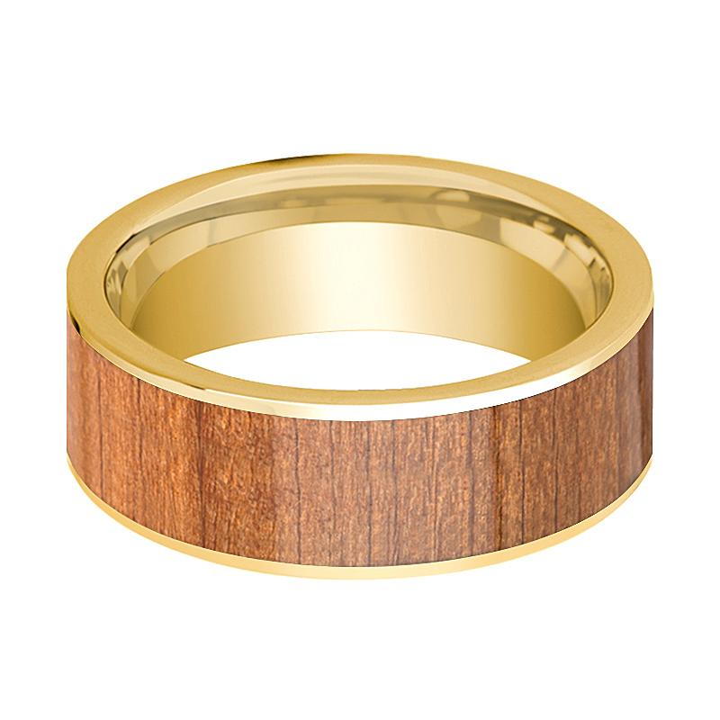 Mens Wedding Band 14k Yellow Gold Flat Wedding Ring with Sapele Wood Inlay Polished - 8mm - AydinsJewelry
