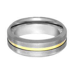 Aydins Mens Tungsten Wedding Band Brushed Gold Groove Center 7mm Tungsten Carbide Ring - AydinsJewelry