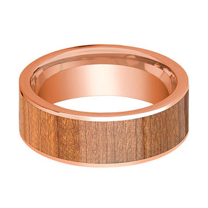 Mens Wedding Band Polished Flat 14k Rose Gold Wedding Ring with Cherry Wood Inlay - 8mm - AydinsJewelry