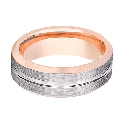 Aydins Rose Gold Tungsten Brushed Silver Grooved Center 8mm Domed Tungsten Carbide Wedding Band - AydinsJewelry