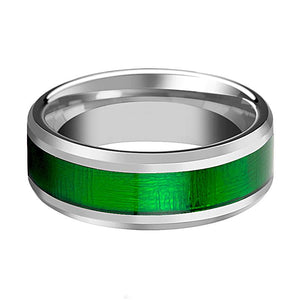 Tungsten Textured Green Inlay - Tungsten Wedding Band - Beveled - Polished Finish - 8mm - Tungsten Wedding Ring - AydinsJewelry