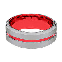 Silver And Red Tungsten - Mens Wedding Band - Tungsten Ring - Scarlet Red - Beveled Edge - Tungsten Wedding Band - AydinsJewelry