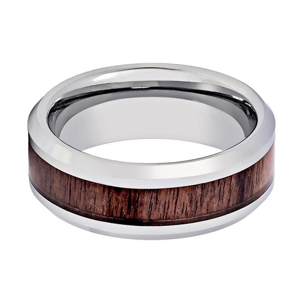 Aydins Tungsten Wedding Ring with Mahogany Wood Inlay Beveled Edge 8mm Tungsten Wedding Band - Rings - Aydins_Jewelry