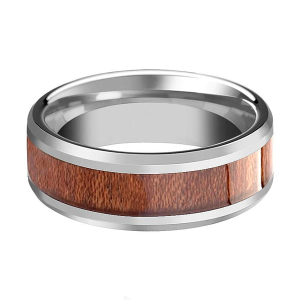 Beveled Tungsten Wedding Band for Men and Women with Rosewood Inlay - 4MM - 12MM - Rings - Aydins_Jewelry