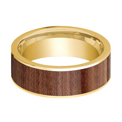 Mens Wedding Band Polished 14k Yellow Gold Men's Flat Wedding Ring with Rose Wood Inlay - 8mm - AydinsJewelry