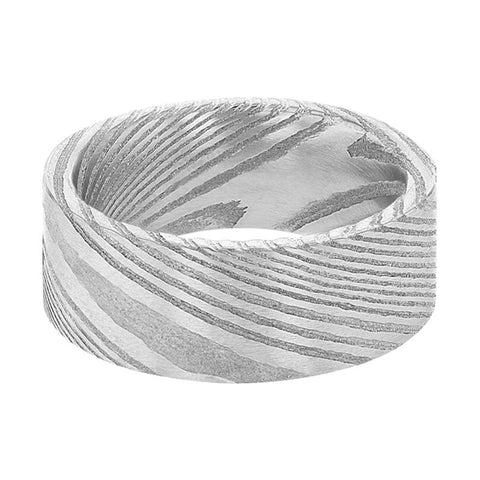 Image of KESTER Pipe Cut Flat Grey Damascus Steel Men's Wedding Band with A Vivid Design Brushed Finish - 6MM - 8MM - Rings - Aydins_Jewelry