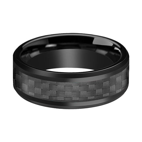Black Beveled Tungsten Men's Wedding Band with Carbon Fiber Inlay - 6MM - 8MM - Rings - Aydins_Jewelry