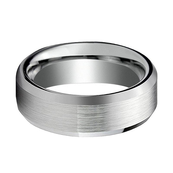 AIDEN Silver Tungsten Couple Matching Ring with Brushed Center & Beveled Edges - 4MM - 12MM - Rings - Aydins_Jewelry