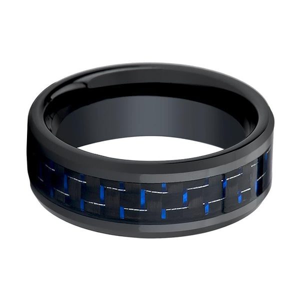 ASHER Men's Black Ceramic Wedding Band with Blue & Black Carbon Fiber Inlay and Bevels - 8MM - Rings - Aydins_Jewelry
