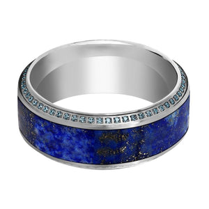 EMPEROR Men's Titanium Wedding Band with Lapis Lazuli Inlay & Beveled Edges Set with Blue Diamonds - 10MM - Rings - Aydins_Jewelry