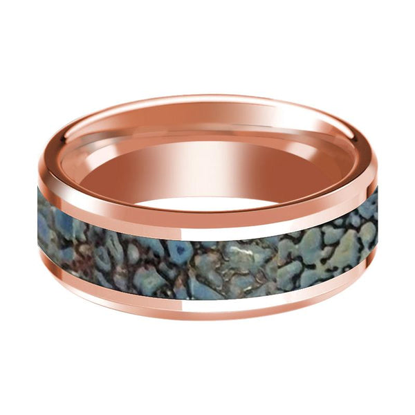 Blue Dinosaur Bone Inlay Beveled Edges Polished 14K Rose Gold Wedding Band 8mm - AydinsJewelry