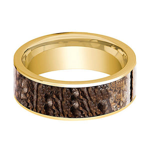 Dinosaur Bone Ring - Brown Dinosaur Bone - Flat Polished 14K Yellow Gold - Polished Finish - 8mm - 14k Gold Wedding Ring - AydinsJewelry