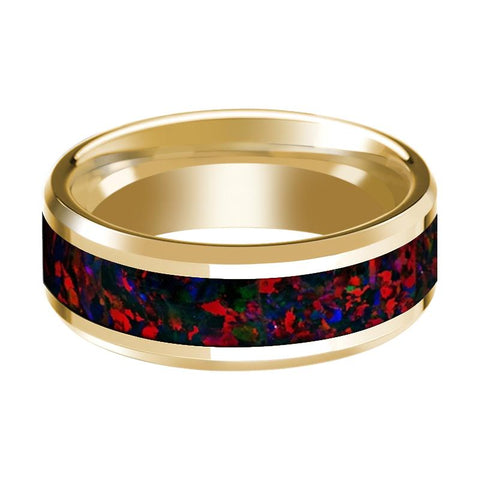 Image of 14K Yellow Gold Polished Beveled Wedding Ring Black and Red Opal Inlay - Rings - Aydins_Jewelry