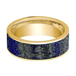 Flat Polished 14k Yellow Gold Men's Wedding Band with Blue Lapis Lazuli Inlay - 8MM - Rings - Aydins_Jewelry